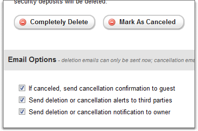 Email options during booking cancellation