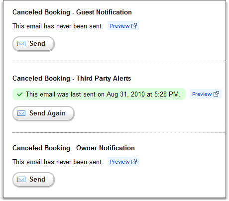 Cancelled Booking emails