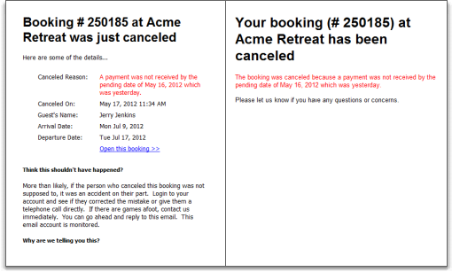 cancellation emails for pending bookings