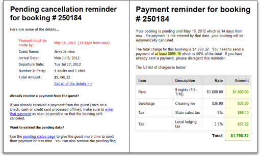 email reminder for pending bookings