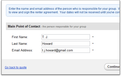 contact page on public quote forms