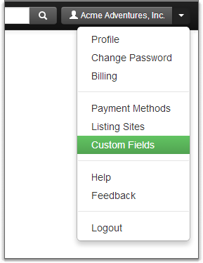 custom fields in account dropdown