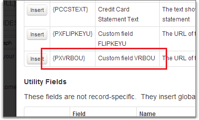 custom fields in email template field selector
