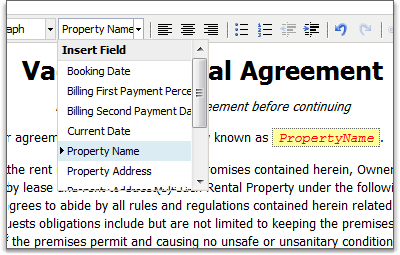 Mail merge fields for custom renter agreements