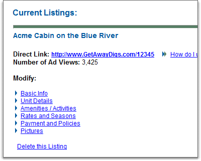 GetAwayDigs.com properties dashboard page