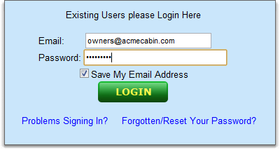 VacationRentalPeople.com login page