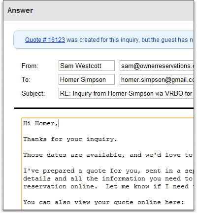 inquiry answer email with quote
