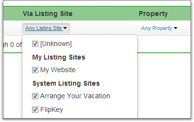 listing sites in filter bar list