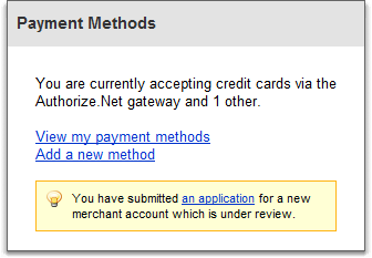 payment method box in account overview