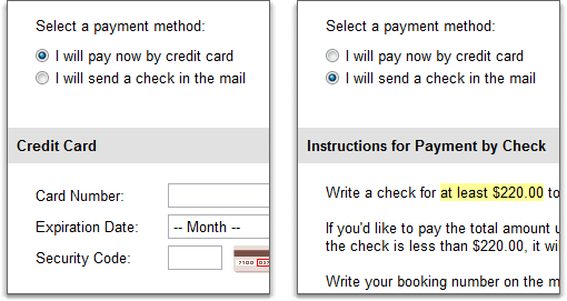 payment methods showing credit card and check options