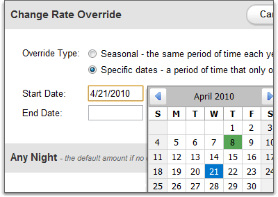 Override types for a rate override