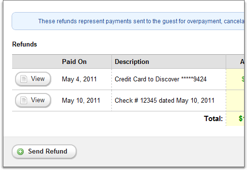 refunds overview page, full