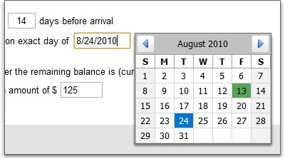 Calendar option on date fields on scheduled payments