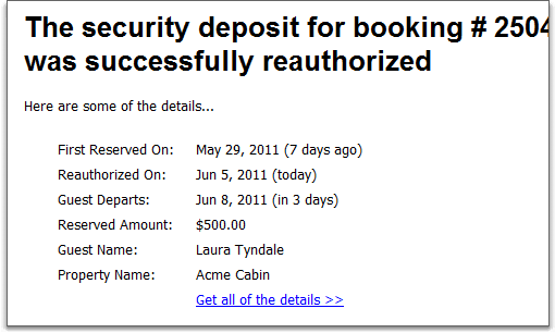 security deposit reauthorization email