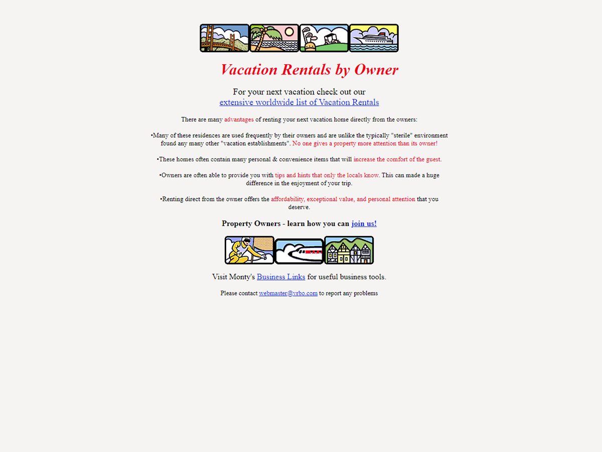 Vrbo homepage in the year 1998