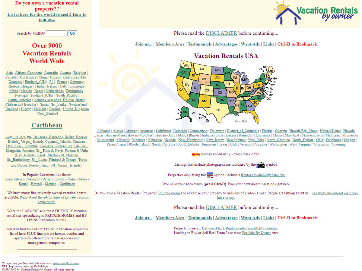 Vrbo homepage in the year 2002