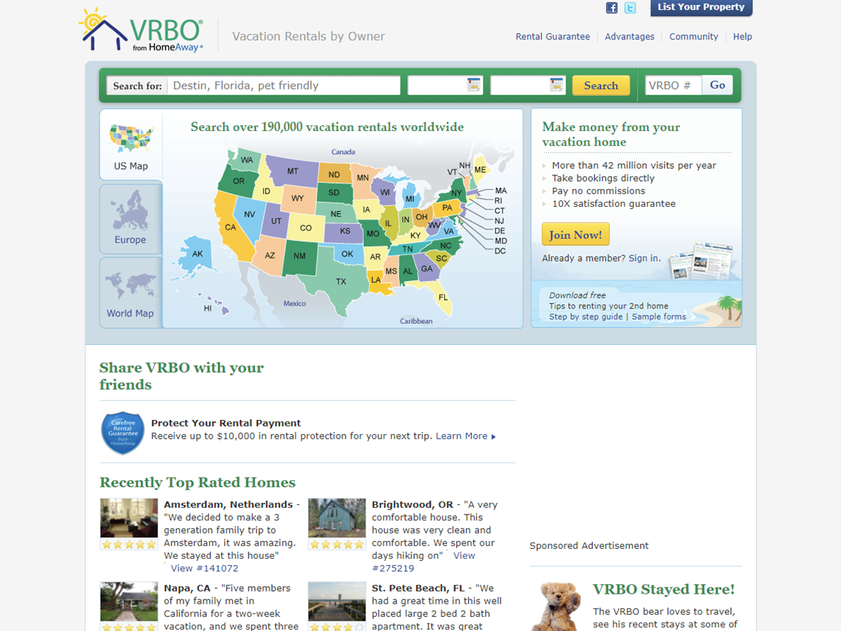 Vrbo homepage in the year 2012