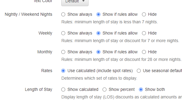 New settings on the rate table widget to allow specific show/hide preferences