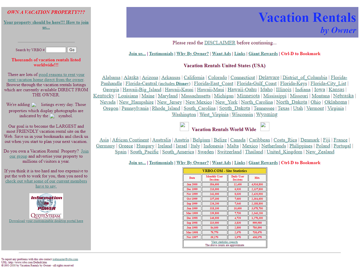 Vrbo homepage in the year 2000
